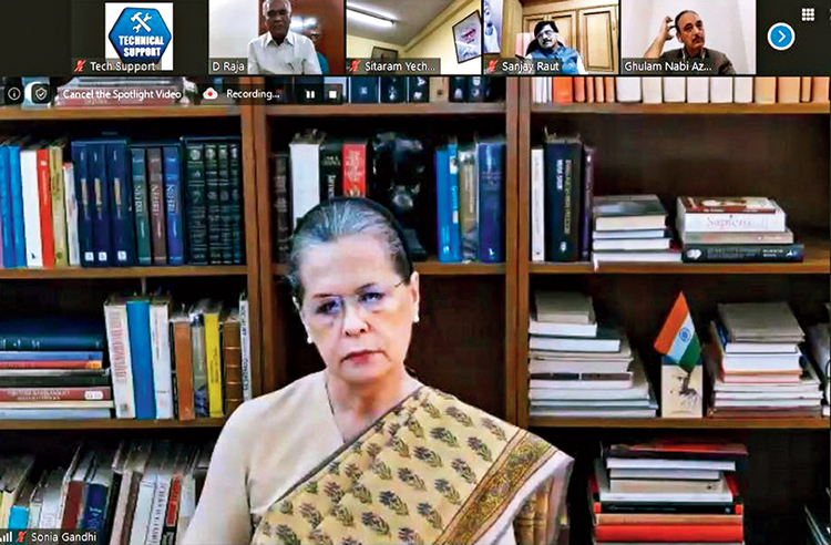 Sonia Gandhi chairs the Opposition meeting on Friday.