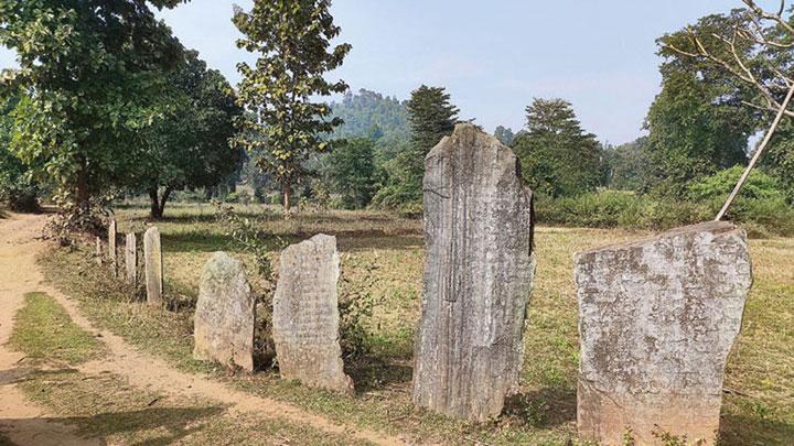 Pathalgadi or stone plaques outside Burugulikera village in West Singhbhum district, where the carnage happened