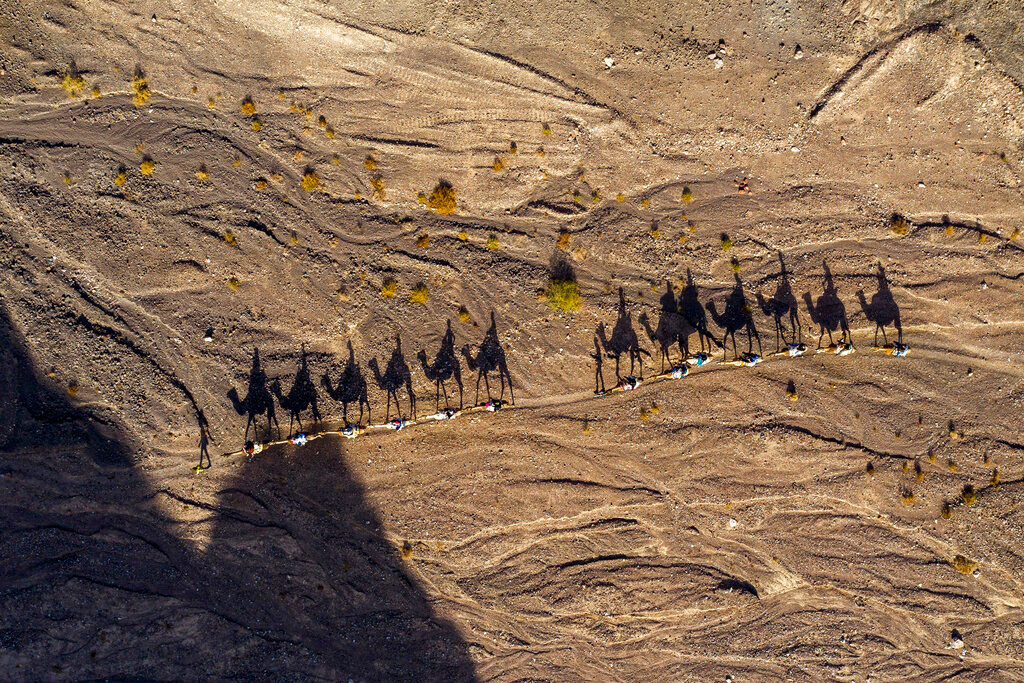 People ride camels during Hanukkah in the desert near the southern Israeli city of Eilat on Thursday.