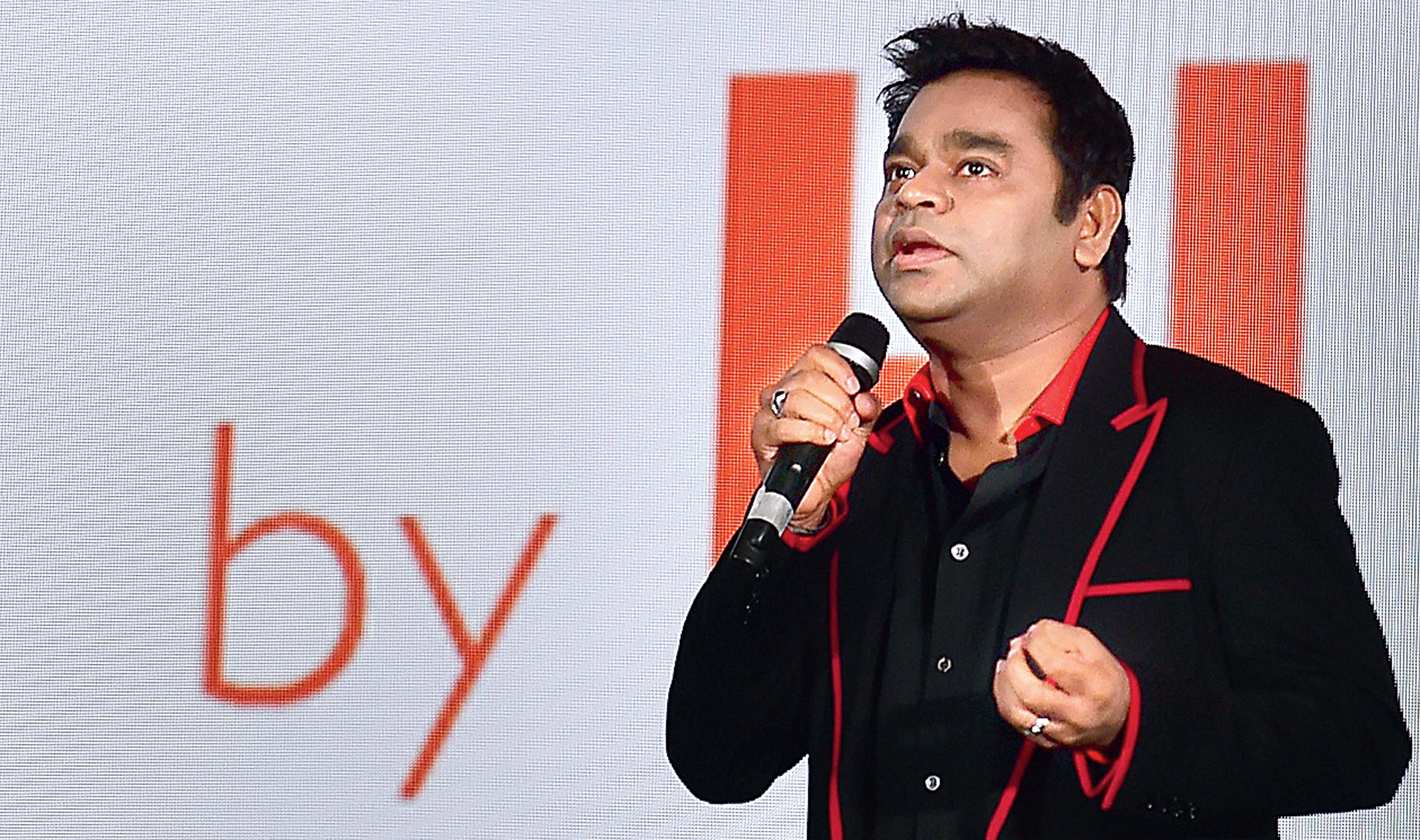 A.R. Rahman at the launch of Onyx Cinema LED screen in Bangalore on Thursday.