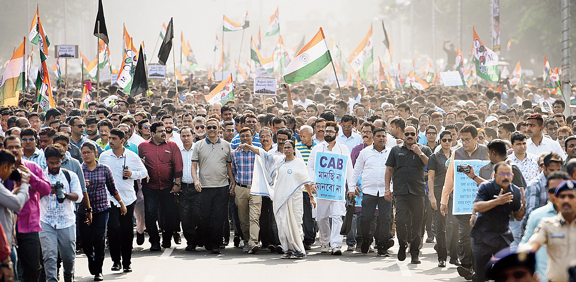 IN BENGAL: Mamata Banerjee leads a march in Calcutta