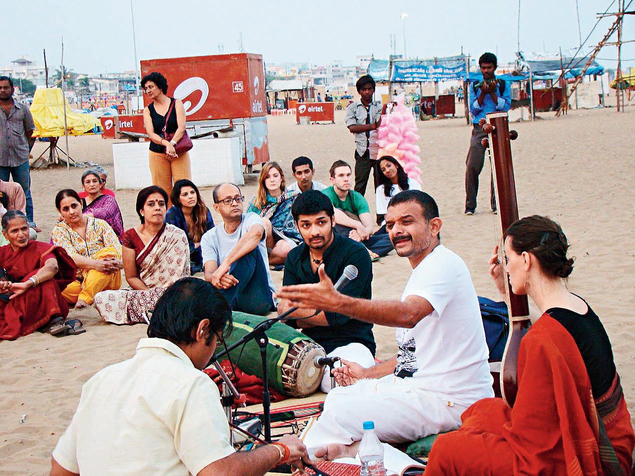 T.M. Krishna at Besant Nagar beach, Chennai