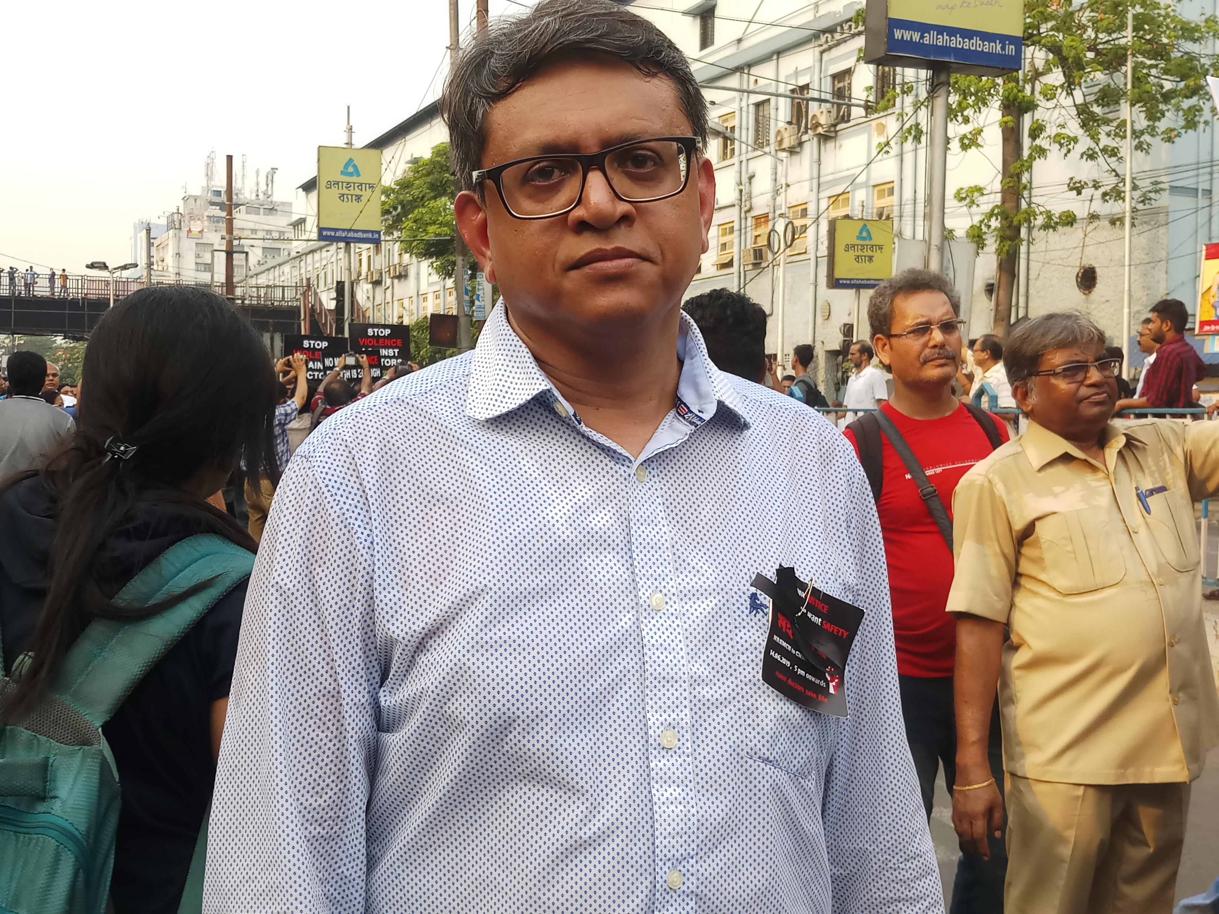 Dr. Arnab Basak outside NRS Hospital