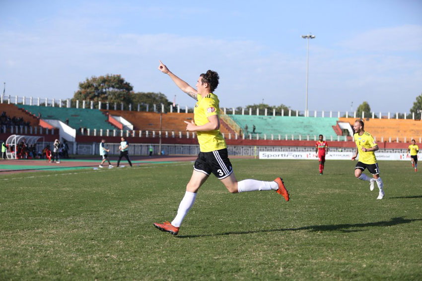 Mason Robertson celebrates after scoring the 1st goal against TRAU FC