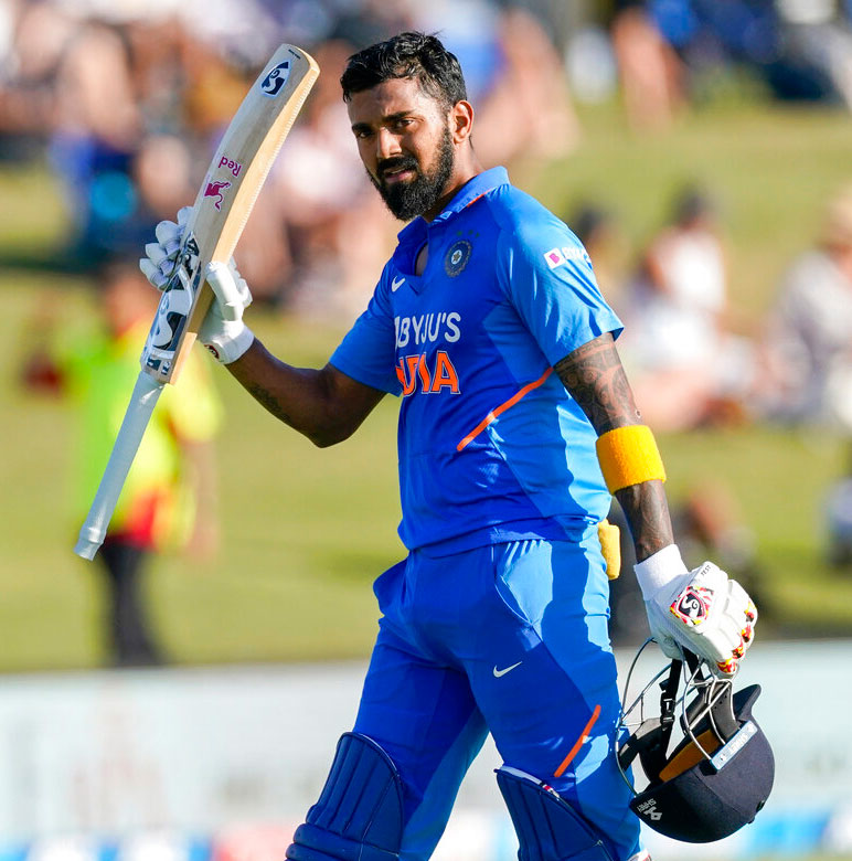 KL Rahul during the One Day International between India and New Zealand in Tauranga on Tuesday