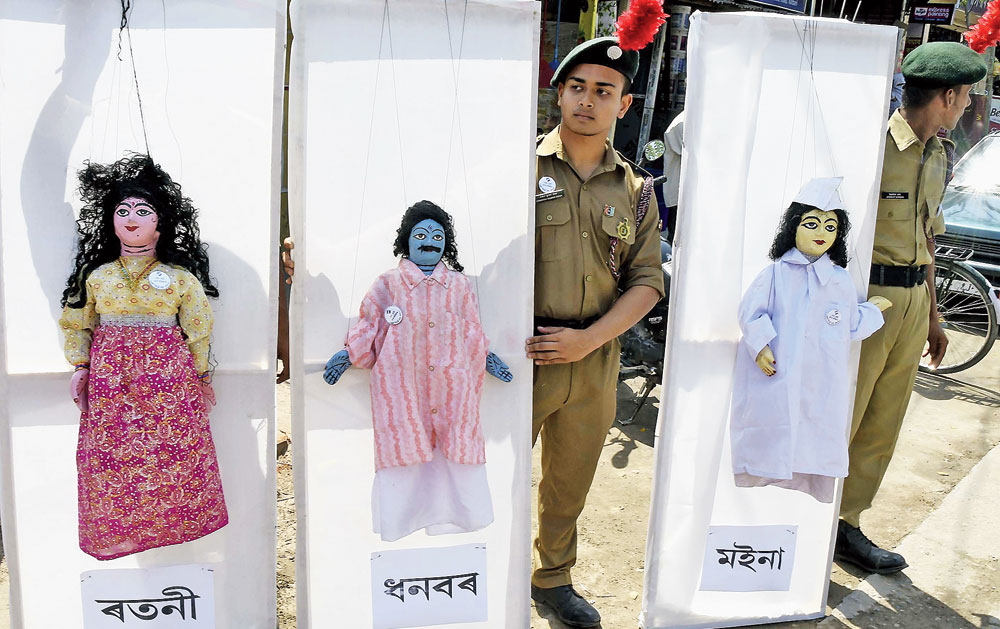 Use of puppetry and cultural rally during a voter awareness campaign in Nalbari