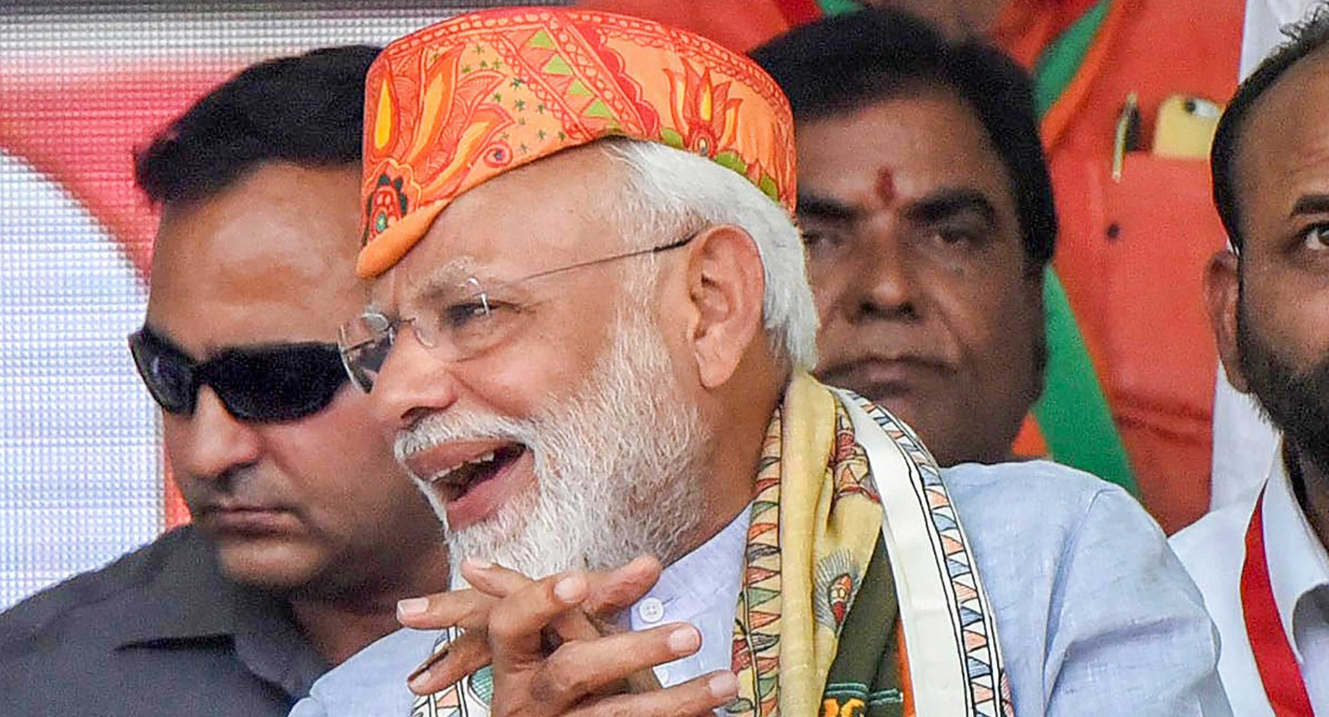 Prime Minister Narendra Modi during an election rally in Darbhanga, on April 25, 2019. He seems intent on conveying the message that resistance to chanting Vande Mataram, or, for that matter, whatever is preached by the BJP, is equivalent to treason