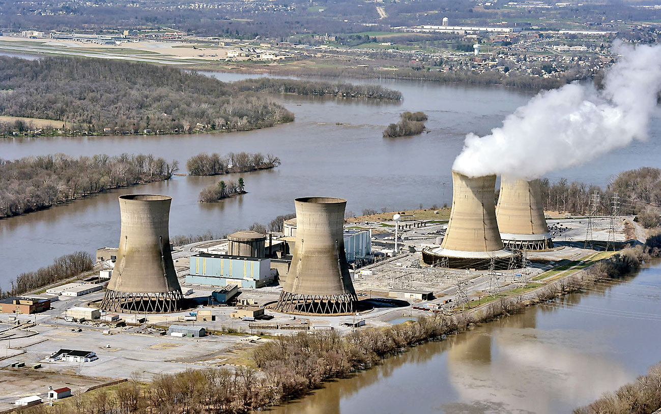 A file picture shows the cooling towers at the Three Mile Island nuclear power plant in Dauphin county, Pennsylvania.