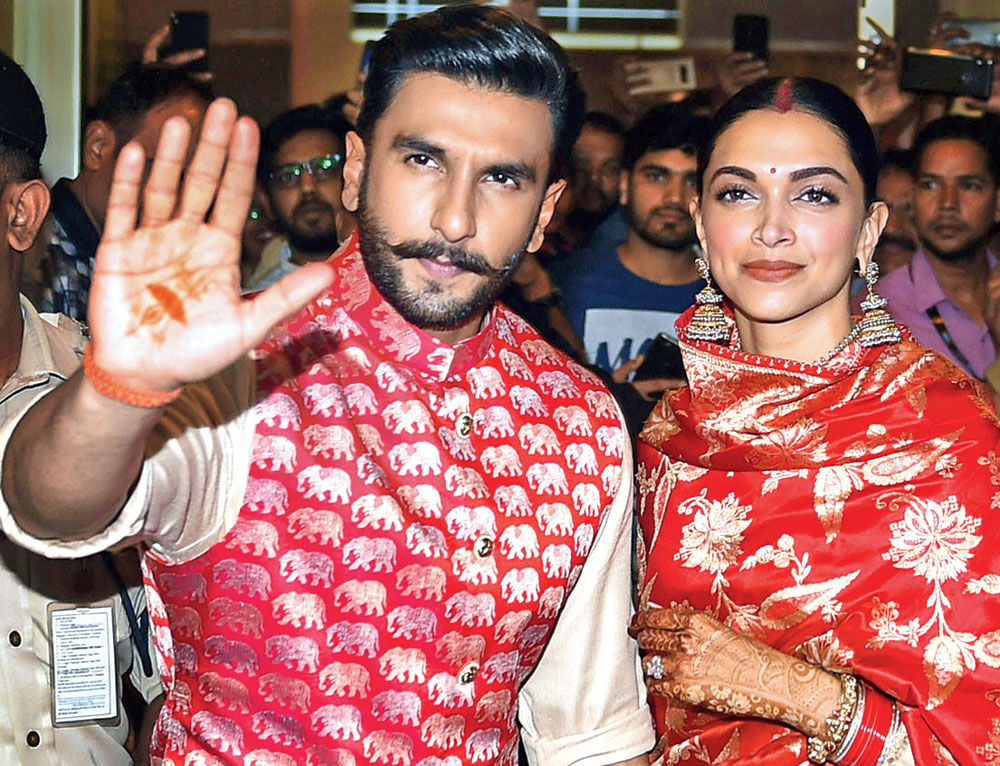 Deepika Padukone and Ranveer Singh, who recently tied knot in a private ceremony at Lake Como in Italy, on their arrival in Mumbai on November 18