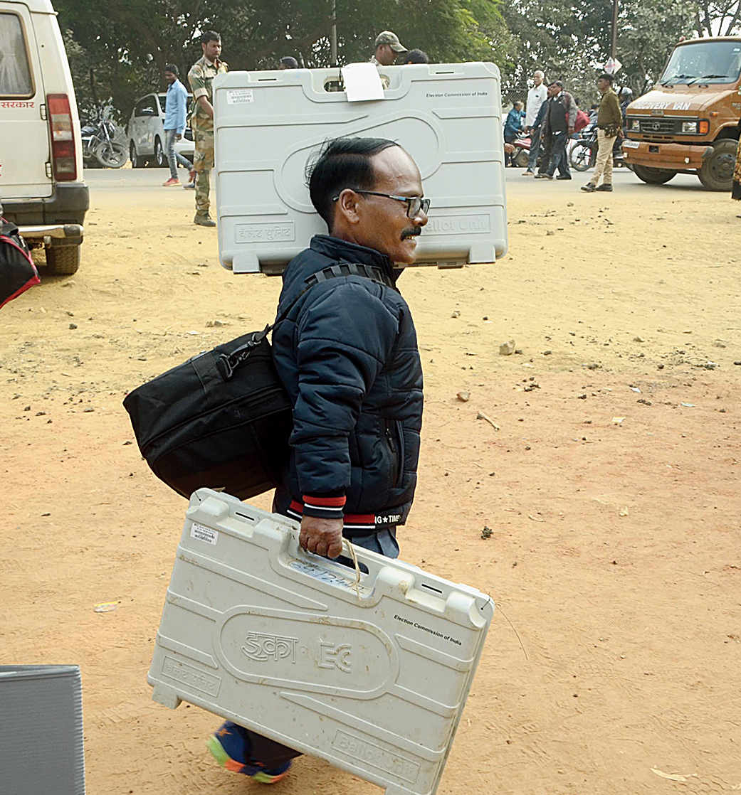 A polling officer at Morabadi in Ranchi on Wednesday.