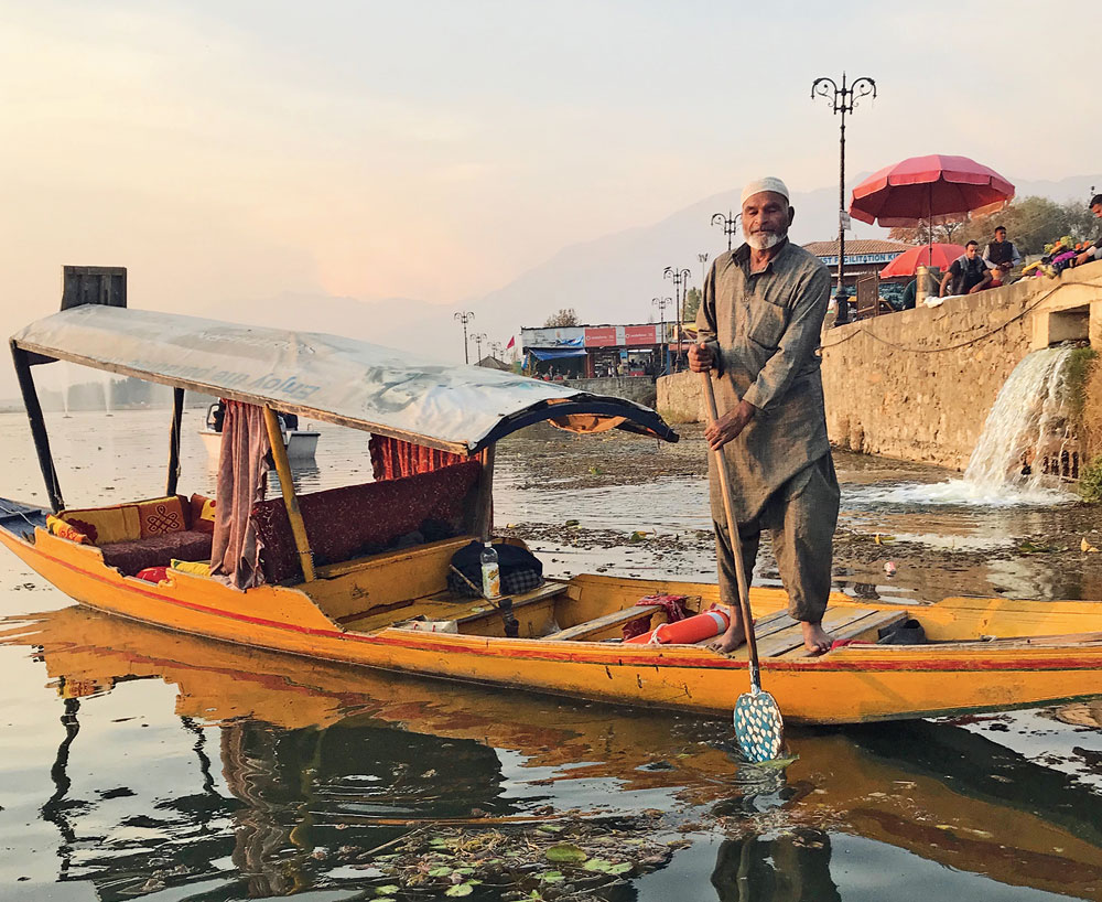 A shikara on the Dal Lake