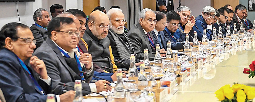 Modi and others at the Niti Aayog meeting