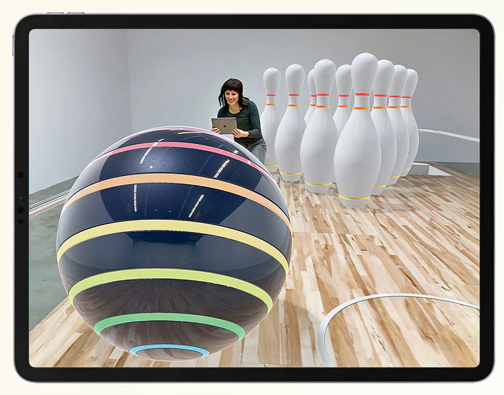A round of AR-powered strike bowling on the iPad