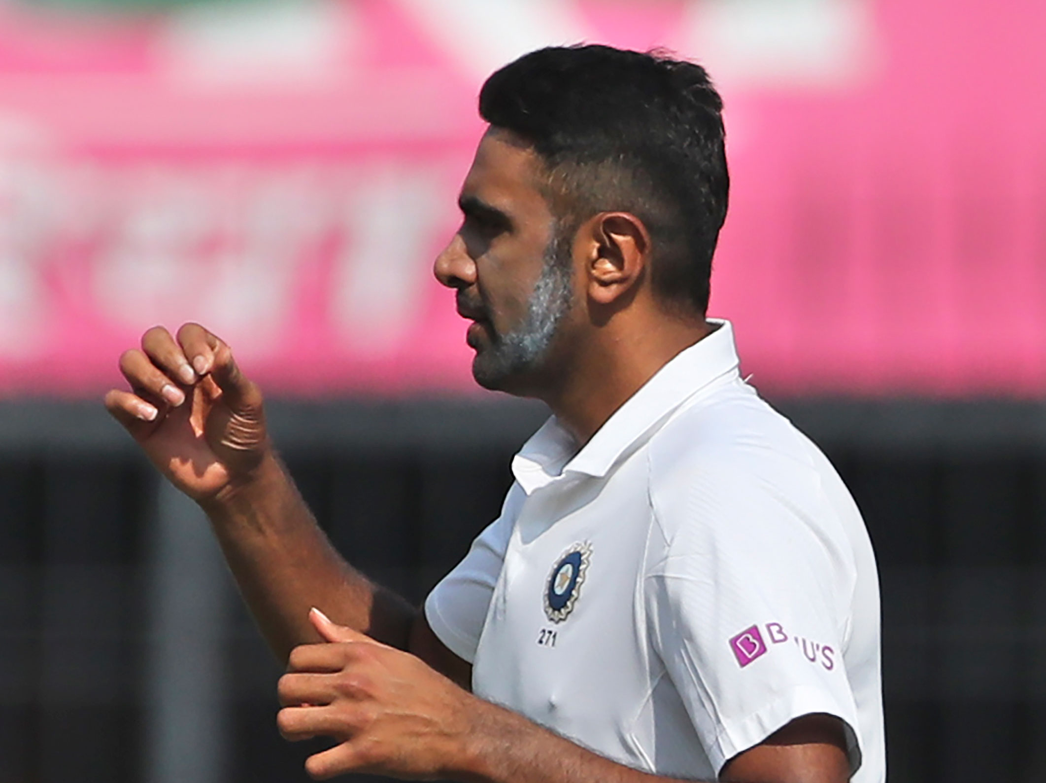 Ravichandran Ashwin celebrates the dismissal of Bangladesh's Mahmudullah during the first day of first test match between India and Bangladesh in Indore on Thursday.