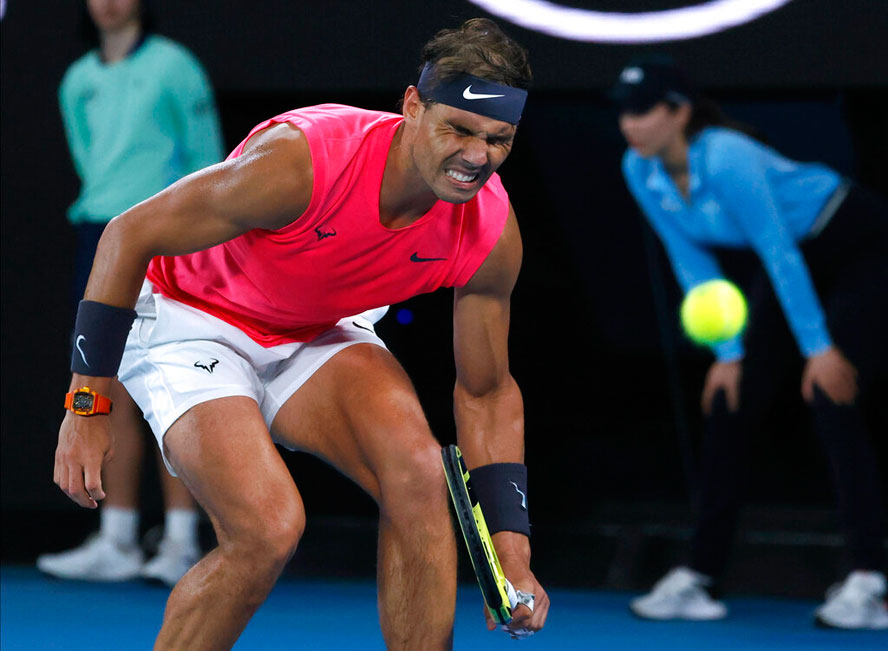 Rafael Nadal reacts during his quarterfinal match against Austria's Dominic Thiem at the Australian Open on Wednesday