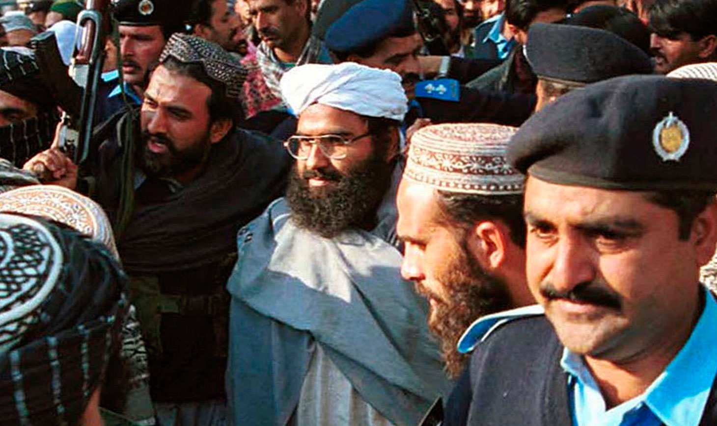 Masood Azhar (centre) in Islamabad, Pakistan, on January 27, 2000. Pakistan has already announced a freeze on Azhar's assets, but such interventions may not be enough.