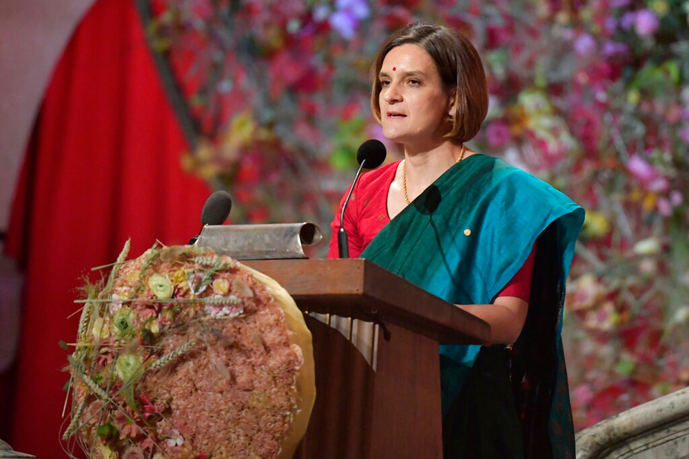 Economist Esther Duflo gives her speech during the Nobel banquet at Stockholm City Hall on December 10. We should celebrate her work and reflect upon what it reveals about our economy