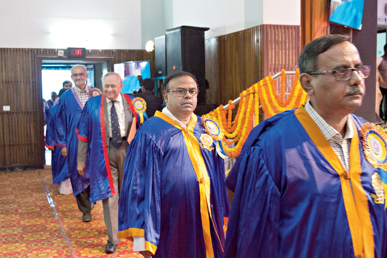 NIT Durgapur director Anupam Basu (centre) and scientist Bikas Sinha (second from left) at the convocation procession at the institute on Saturday.
