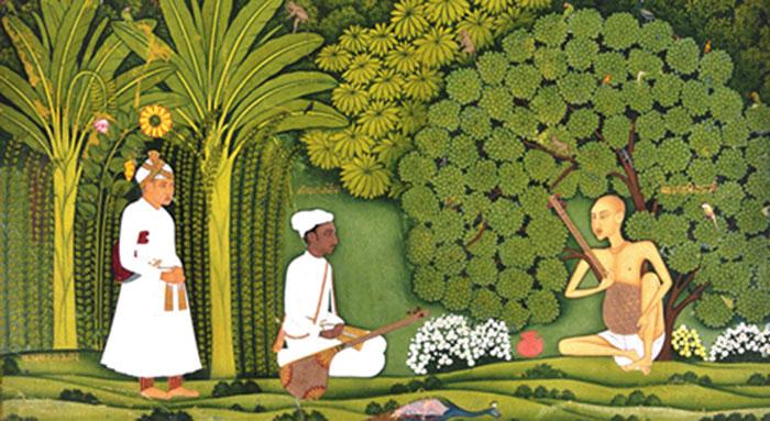 Akbar and Tansen, in disguise, listen to Swami Haridas