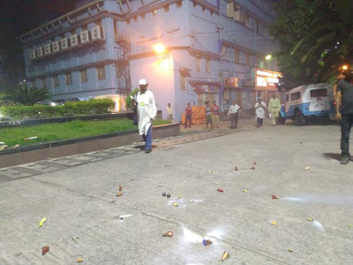 Remains of crackers at RG Kar hospital on Sunday night