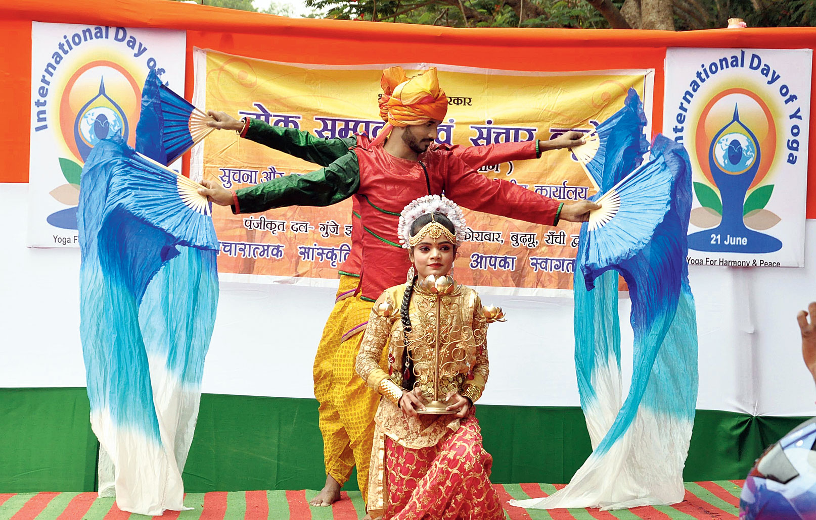Local artistes take part in a cultural programme at Assembly grounds in Dhurwa, Ranchi, on Thursday as part of the curtain-raiser events for International Yoga Day celebrations on Friday.