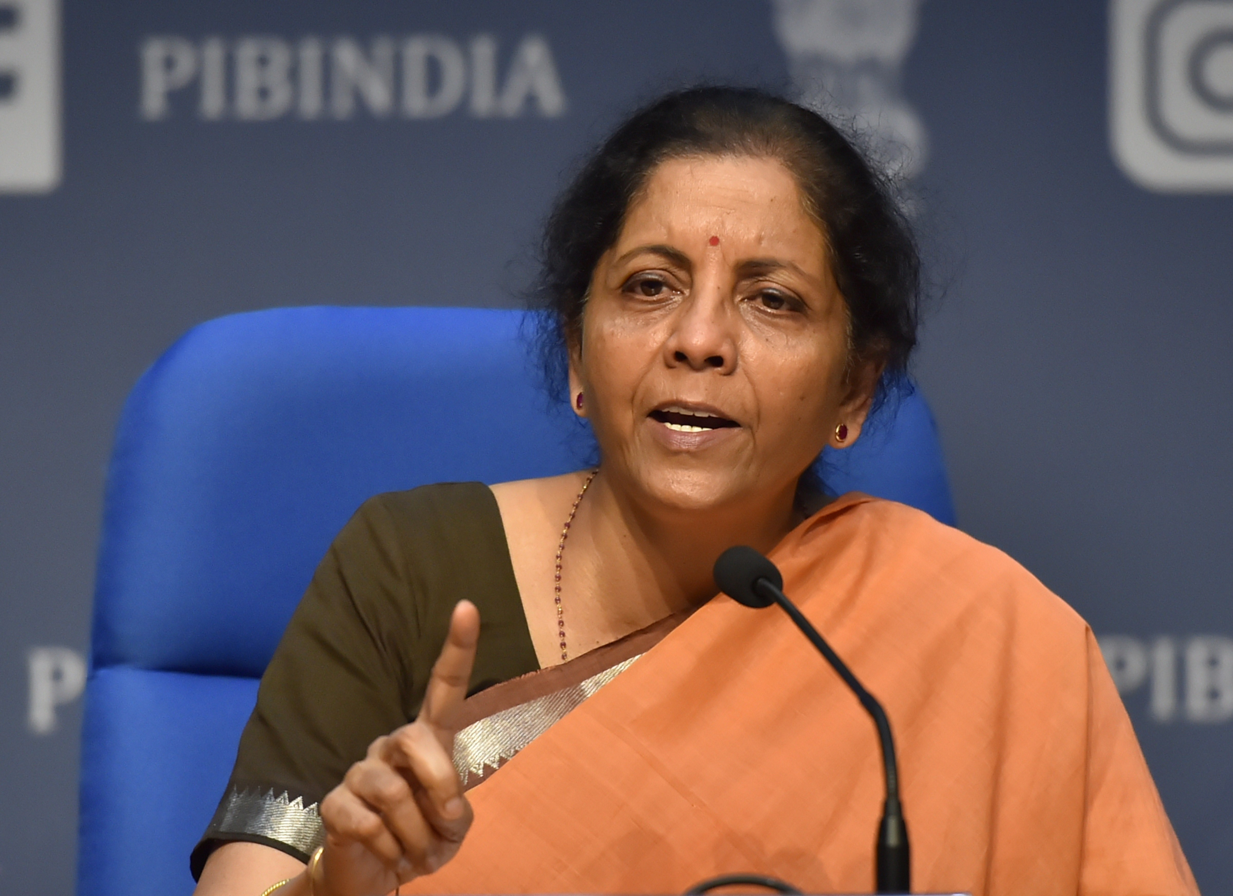 Union finance minister Nirmala Sitharaman addresses a press conference to announce a Rs 1.7 lakh crore Gareeb Kalyan Yojana to help the poor in the view of the coronavirus lockdown, at National Media Centre in New Delhi, Thursday, March 26, 2020
