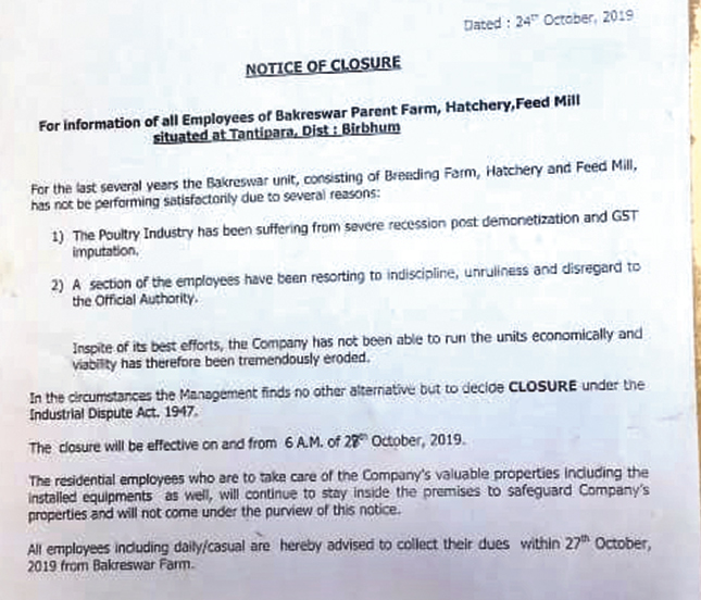 The closure notice that cites the post-demonetisation condition of the poultry industry.