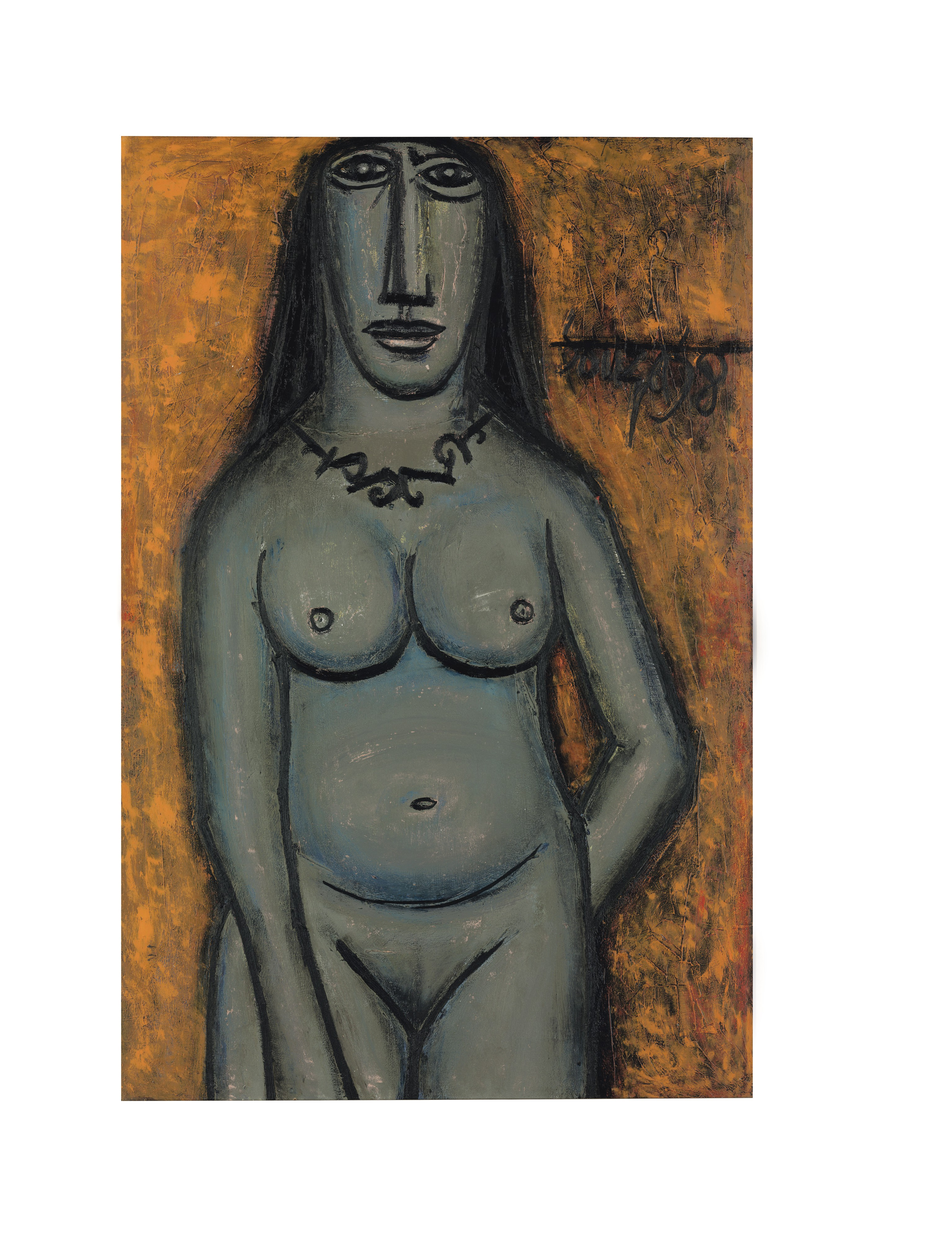 Nude, F N Souza.   This 'Nude' was painted by Francis Newton Souza (1924-2002) in 1958, at a time when Souza had gained critical recognition, patronage and gallery representation in London. The subject in this painting illustrates the artist's preference for robust figures in bold frontal poses, inspired by the temple sculptures of Khajuraho and Mathura. The voluptuous curves are reminiscent of Picasso's geometry of forms. Souza's mastery is evident in the delicate layering of colour and the subtle play of light and shade used to delineate her body. (Estimate: $150,000-200,000)