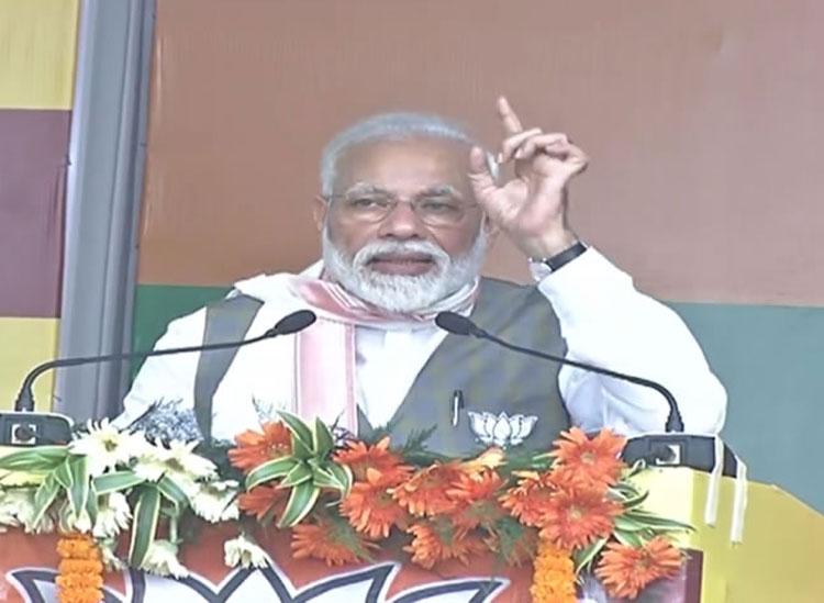 Prime Minister Narendra Modi at a rally in Assam on Saturday.