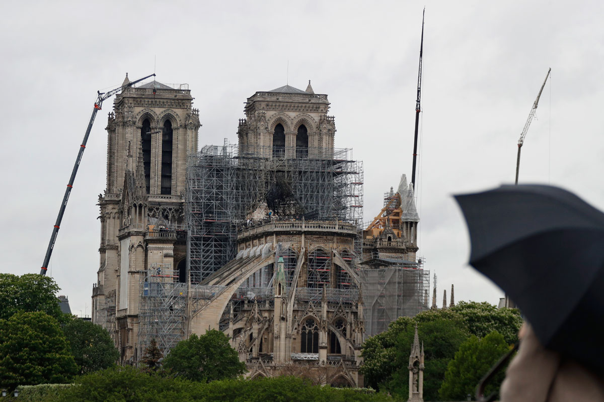 Reconstruction work at Notre-Dame cathedral in Paris on Thursday, April 25, 2019. No matter how true to the original the new structure is, the cathedral as it was has ceased to exist