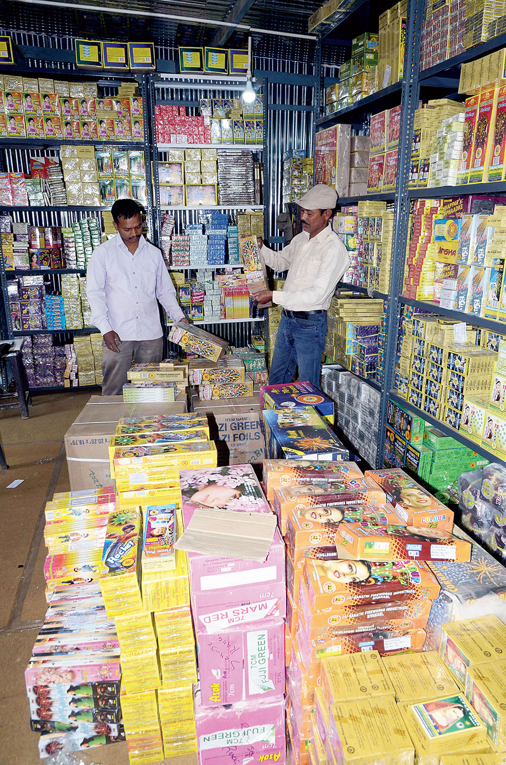 festive vigil: A firecracker shop at Morabadi grounds in Ranchi on Wednesday.