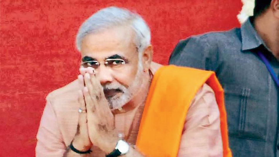 Narendra Modi before taking oath as Gujarat chief minister for the third time at Sardar Patel Stadium in Ahmedabad on December 25, 2007.