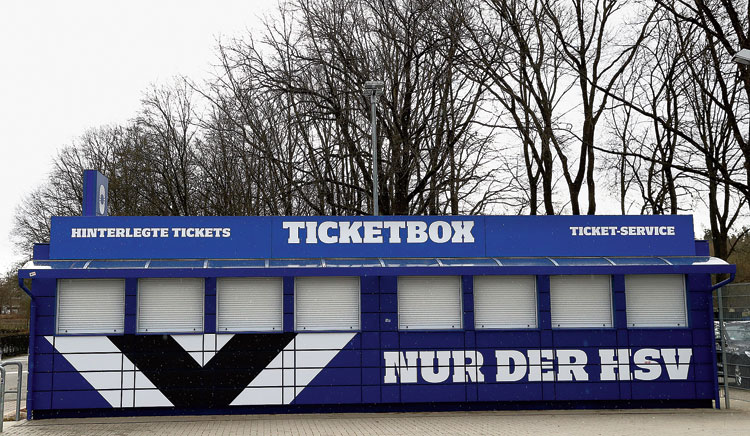 A general view outside the stadium of closed ticket counters in Hamburg, Germany, on Thursday. The matches of Hamburger SV will be played behind closed doors following a decision to prohibit events with more than 1,000 visitors