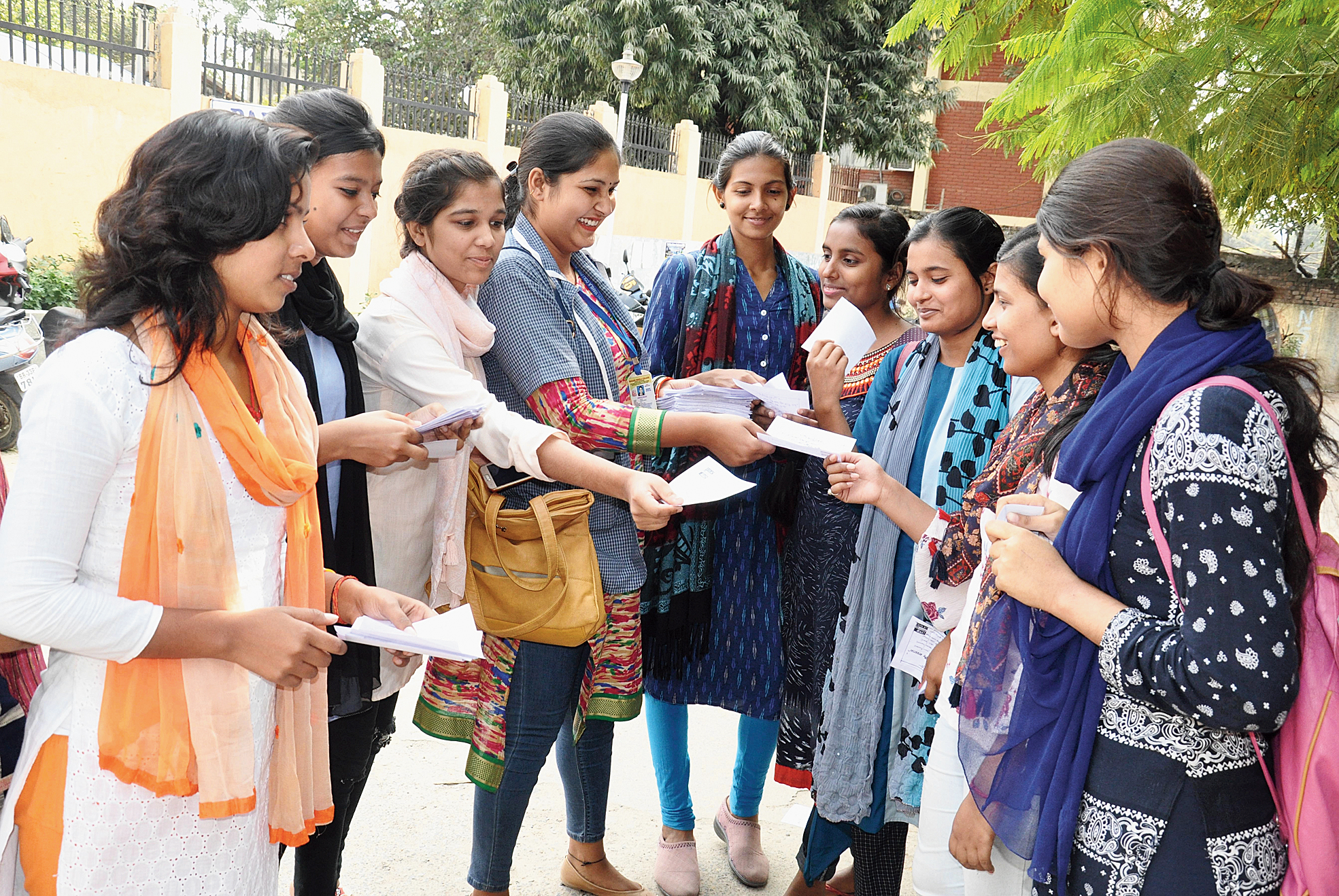Magadh Mahila College students campaign for the Patna University Student Union polls on Wednesday.