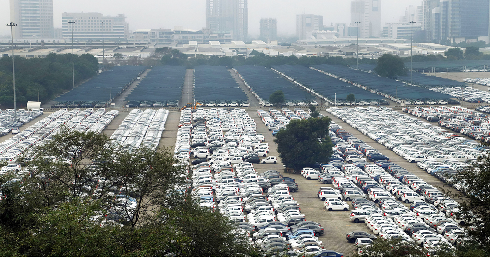 Newly manufactured Maruti Suzuki cars are seen parked inside the company factory in Manesar near Gurugram on Wednesday, September 4, 2019