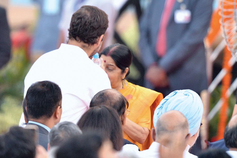 Rahul Gandhi gets up to greet Sushma Swaraj
