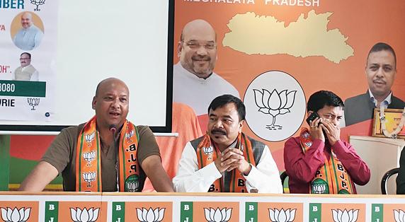 Meghalaya BJP leaders in Shillong on Tuesday.