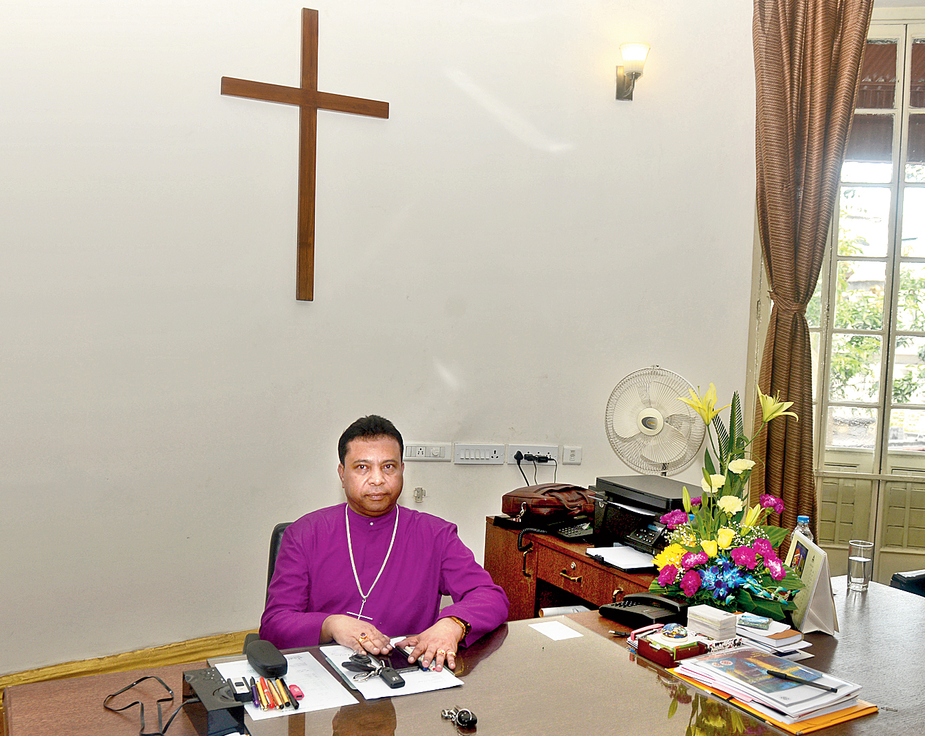 Reverend Paritosh Canning at the Bishop House on Monday.