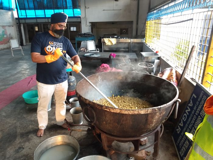 SERVE ALL: Food being prepared in the Khalsa Aid kitchen for those hit by Amphan