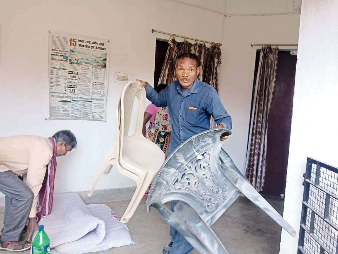 Khunti police attach Father Stan Swami's property at Bagicha in Namkum, Ranchi, on Monday.