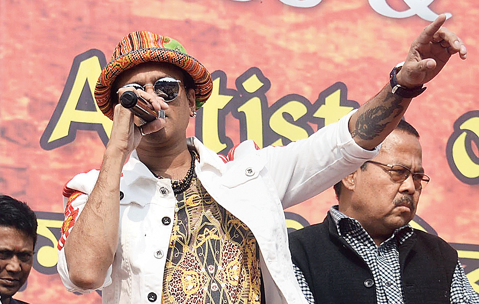Zubeen Garg at the cultural protest at Chandmari on Sunday