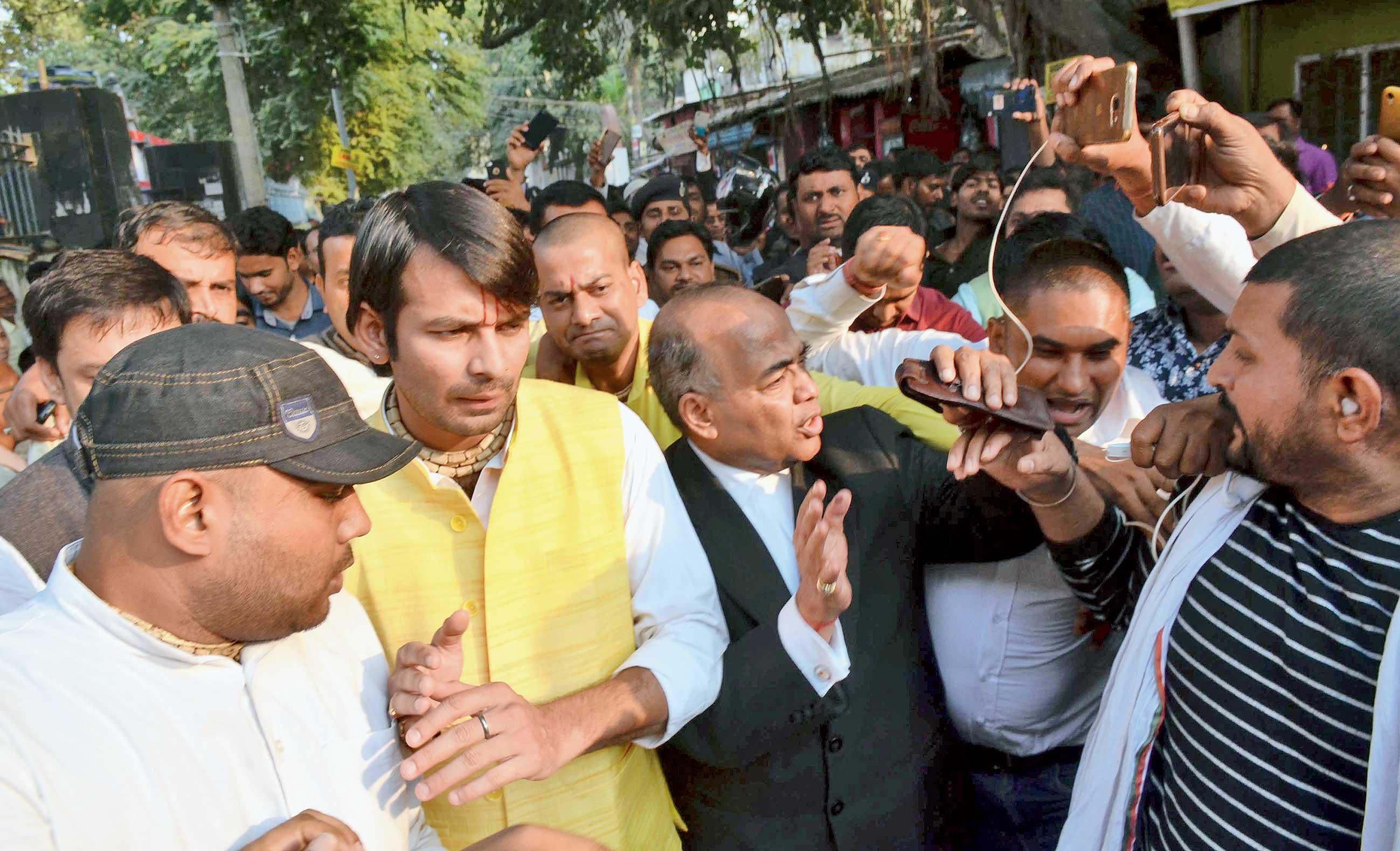 Tej Pratap Yadav at the civil court in Patna on Thursday.