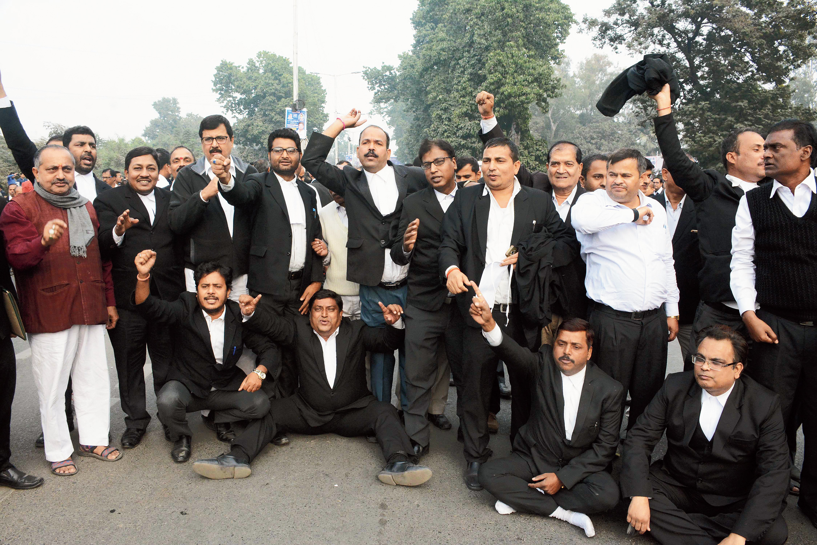 Patna High Court lawyers demonstrate on Wednesday.