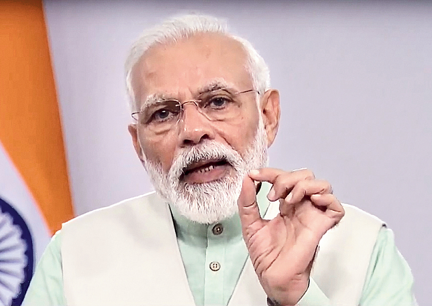 Modi delivering the video message on Friday.