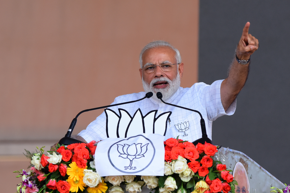 Prime Minister Narendra Modi addresses BJP activist during an election campaign rally ahead of Lok Sabha or general election 2019 on April 03, 2019 in West Bengal.