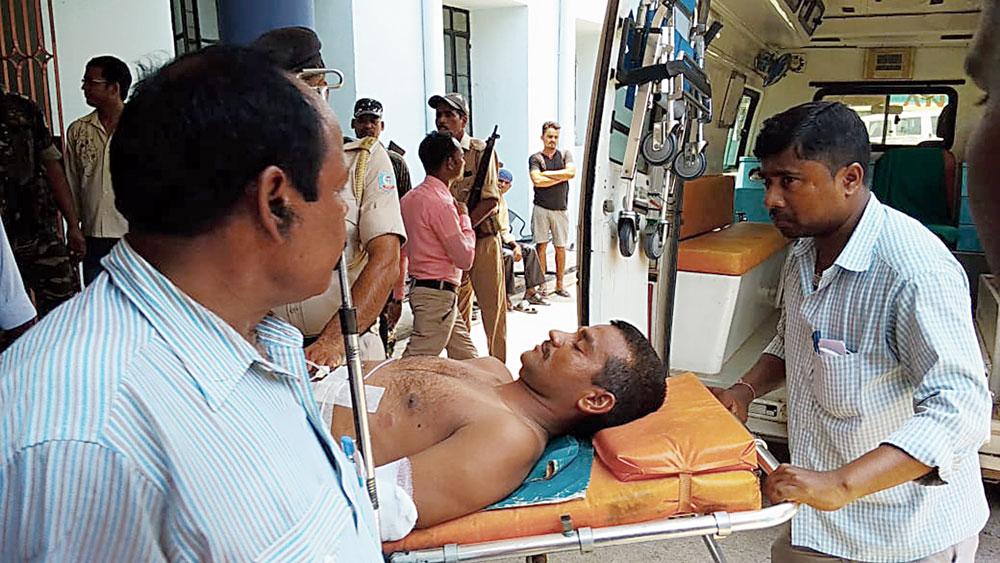 One of the injured jawans, Hareram Singh, at Seraikela on Monday.