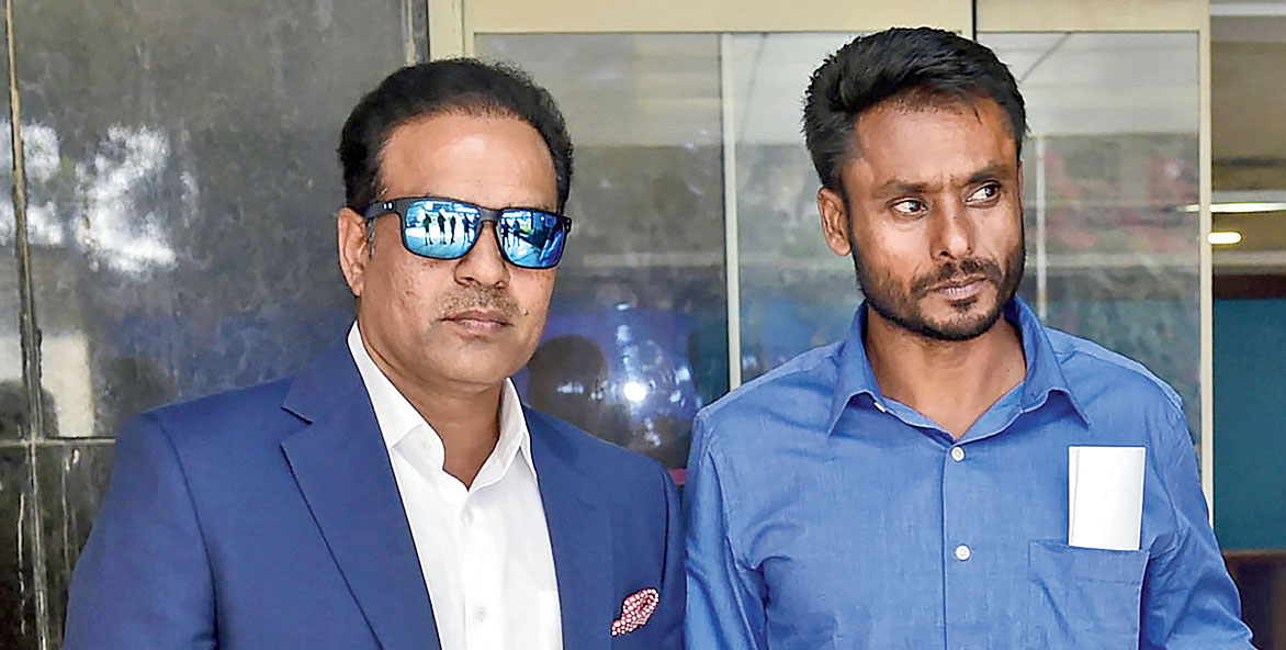 (From left) Sunil Joshi and Harvinder Singh at the BCCI headquarters in Mumbai on Wednesday