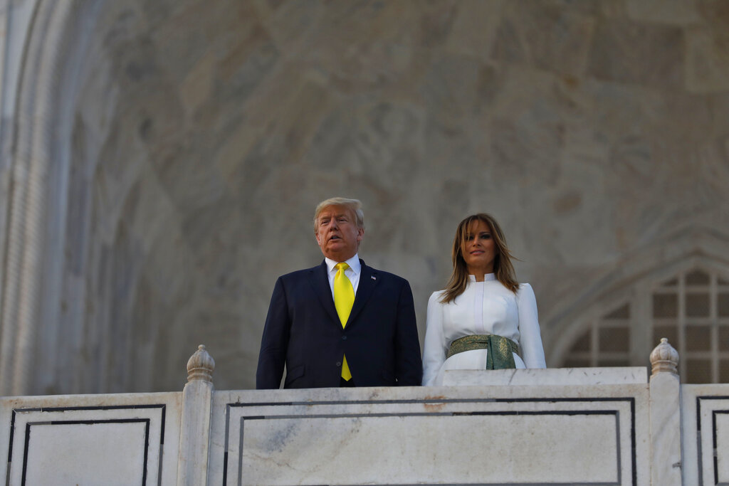 U.S. President Donald Trump, and first lady Melania Trump visit the Taj Mahal, the 17th century monument to love in Agra, India, Monday, Feb. 24, 2020.