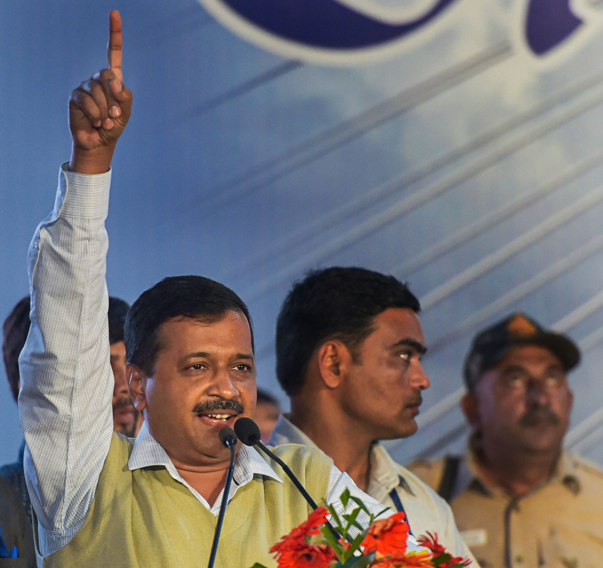 Arvind Kejriwal after the inauguration of the Signature Bridge on the Yamuna river, at Wazirabad in New Delhi, on Sunday.