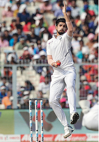 Ishant Sharma bowls during the third day of the second test cricket match between India and Bangladesh in Calcutta on November 24, 2019.
